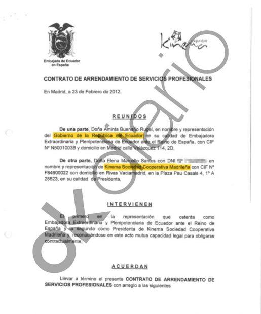 Contrato entre la Embajada de Ecuador en España y Kinema, la cooperativa de Podemos, del año 2012.