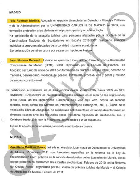 Equipo de abogados de Kinema, la cooperativa de Podemos, que asesoraban a la Embajada de Ecuador en España.