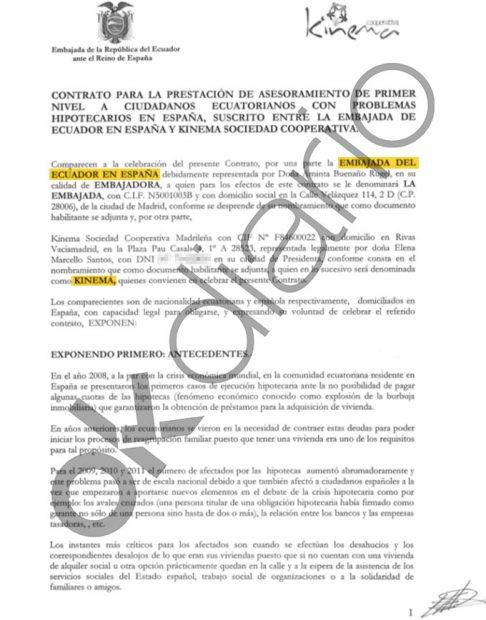 Contrato entre la Embajada de Ecuador en España y Kinema, la cooperativa de Podemos, del año 2013.