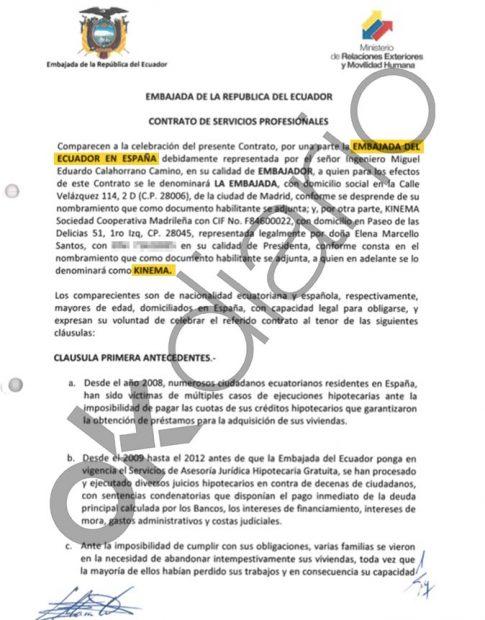 Contrato entre la Embajada de Ecuador en España y Kinema, la cooperativa de Podemos, del año 2015.