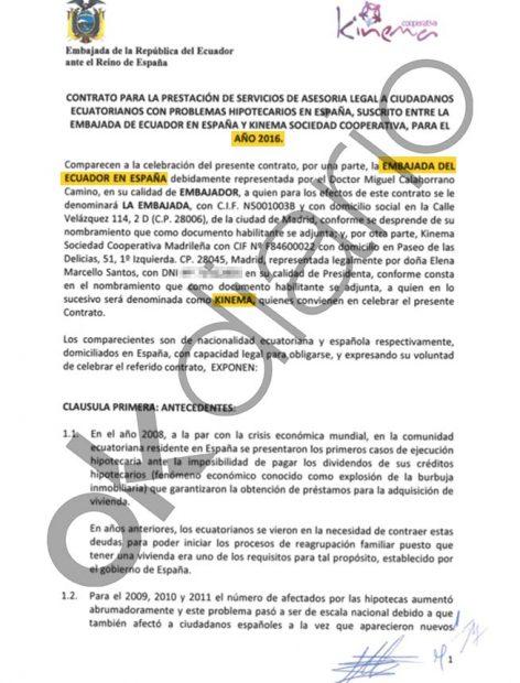 Contrato entre la Embajada de Ecuador en España y Kinema, la cooperativa de Podemos, del año 2016.