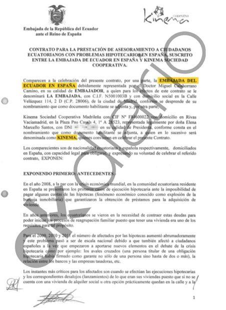 Contrato entre la Embajada de Ecuador en España y Kinema, la cooperativa de Podemos, del año 2014.