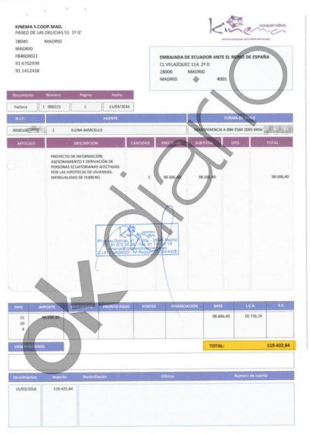 Una de las facturas de 119.422,64 euros emitida por Kinema, la cooperativa de Podemos.