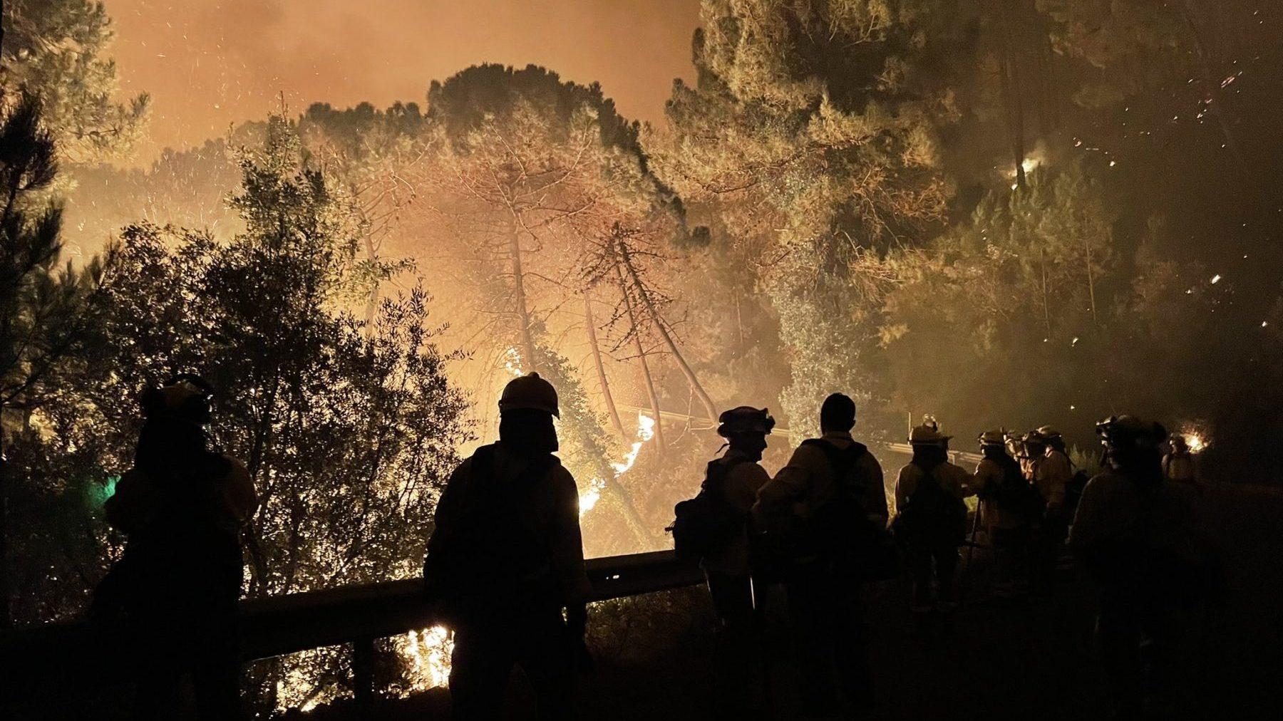 Bomberos en las tareas de extinción del incendio de Sierra Bermeja (@Plan_INFOCA).