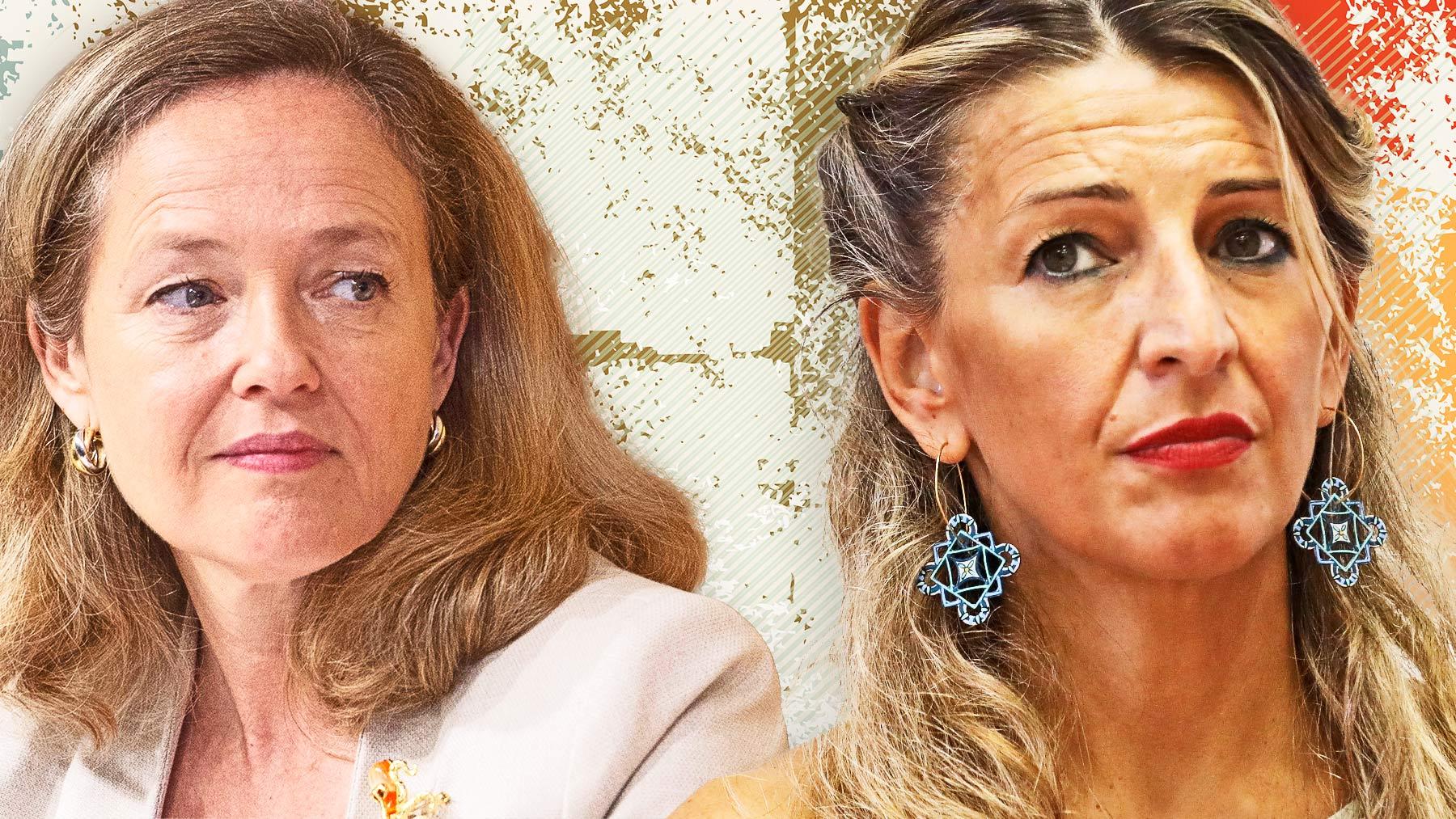 Las ministras de Economía y Trabajo, Nadia Calviño y Yolanda Díaz