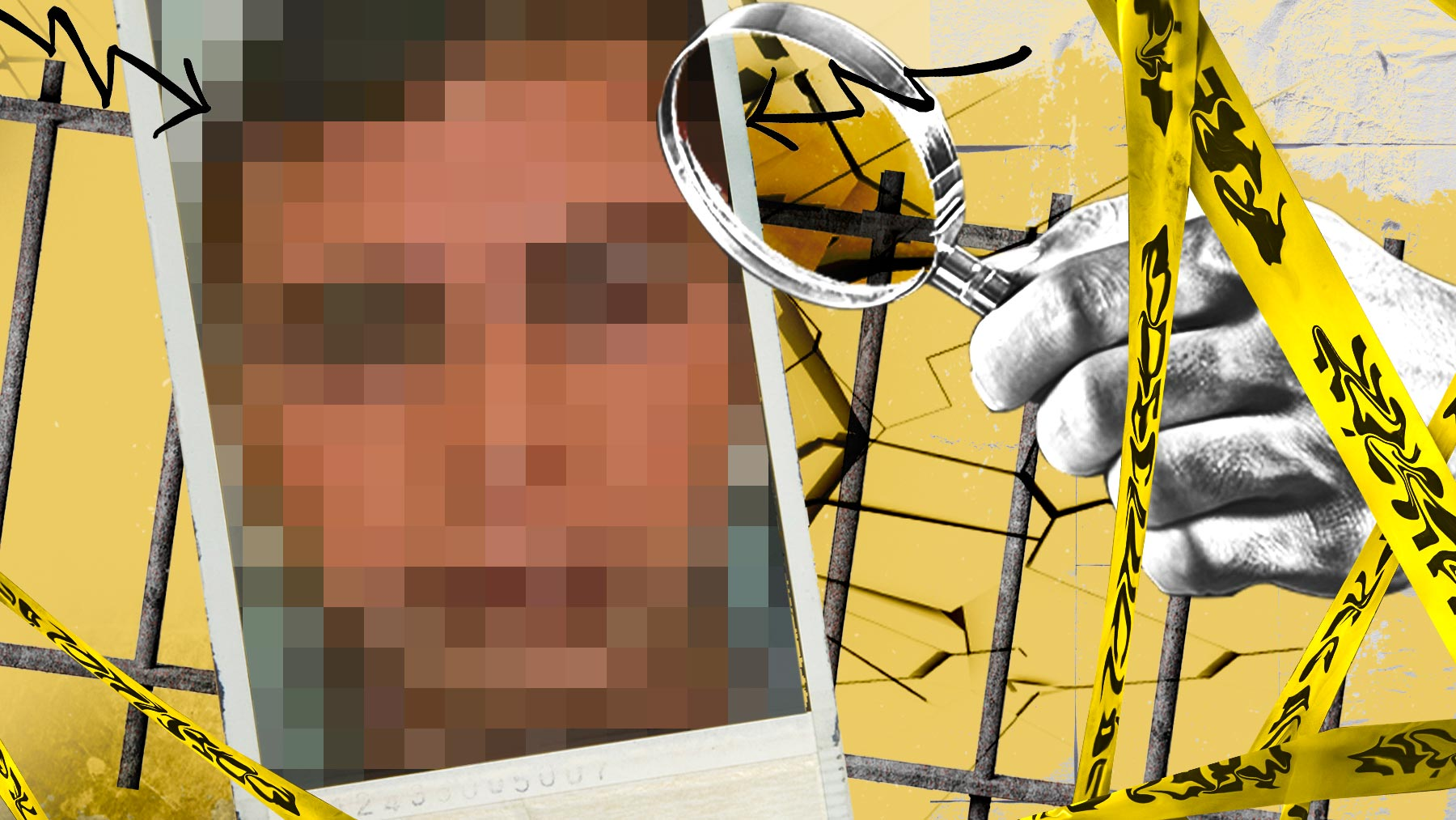 Fotomontaje sobre el preso reducido en la cárcel de Villena.