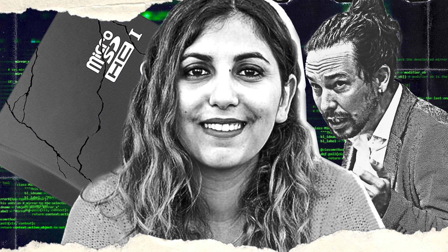 Dina Bousselham y Pablo Iglesias.