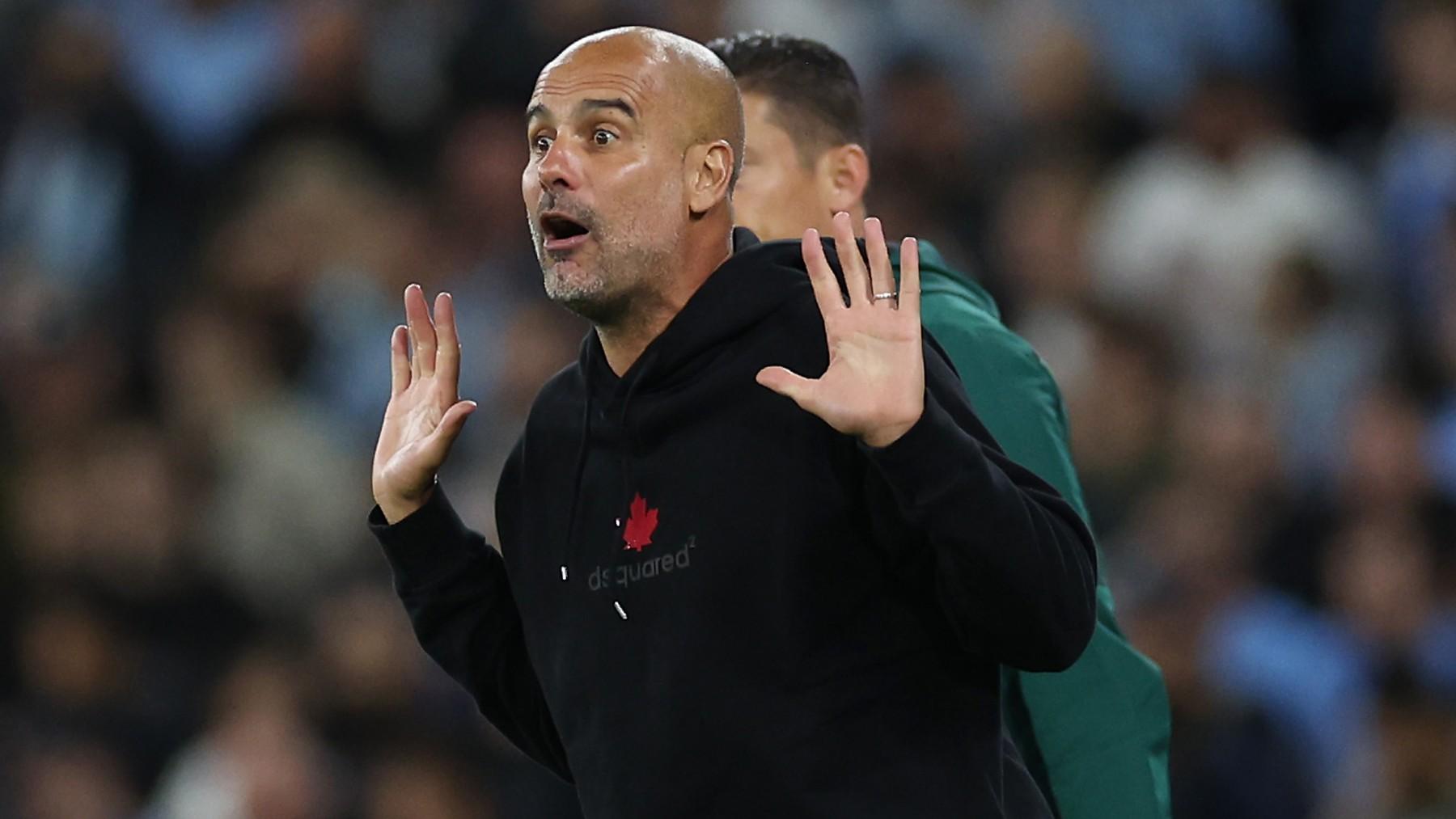Pep Guardiola, en un partido de Champions. (AFP)
