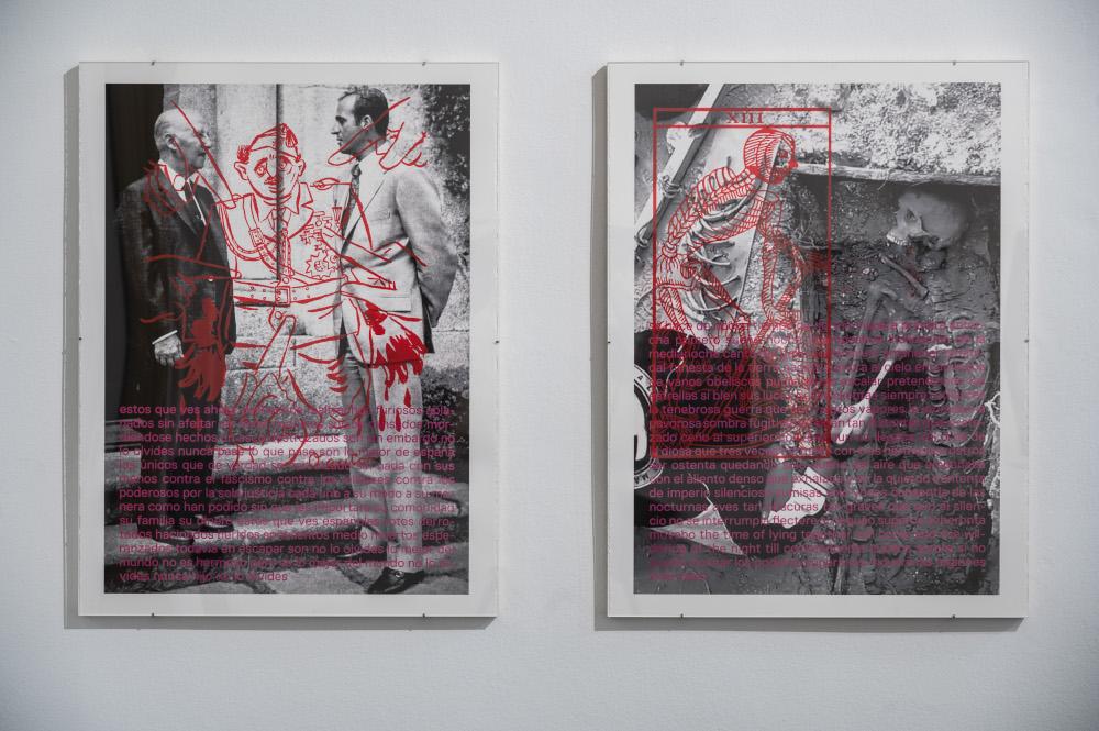 Imágenes de la exposición con el dictador Francisco Franco y el Rey Felipe VI.