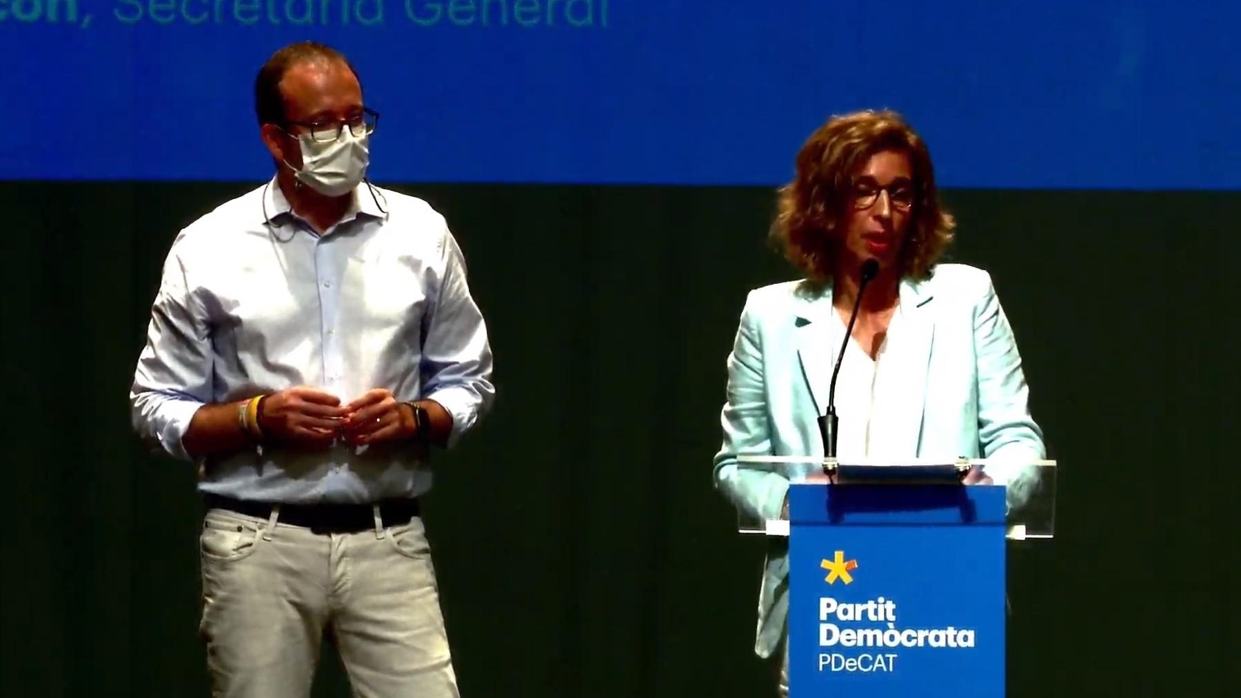 La secretaria general del PDeCAT, Àngels Chacón, y el secretario general adjunto, Marc Solsona.