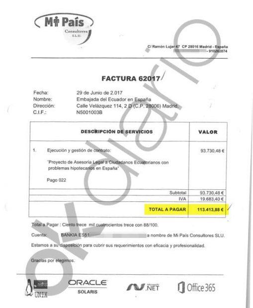 Factura de 113.000 euros emitida por Mi País Consultores SL.