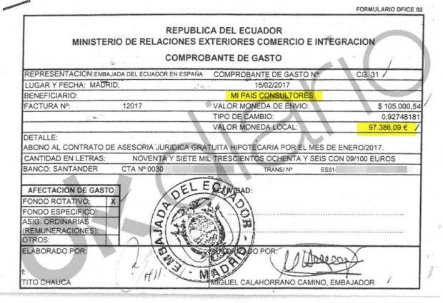 Autorización de pago de 97.000 euros del Ministerio de Exteriores de Ecuador a Mi País Consultores SL.
