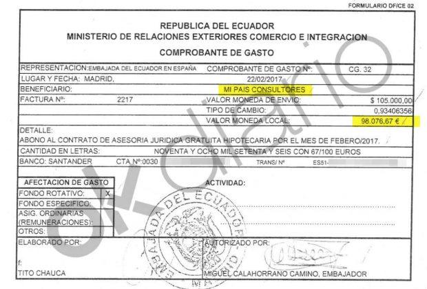 Autorización de pago de 96.000 euros del Ministerio de Exteriores de Ecuador a Mi País Consultores SL.