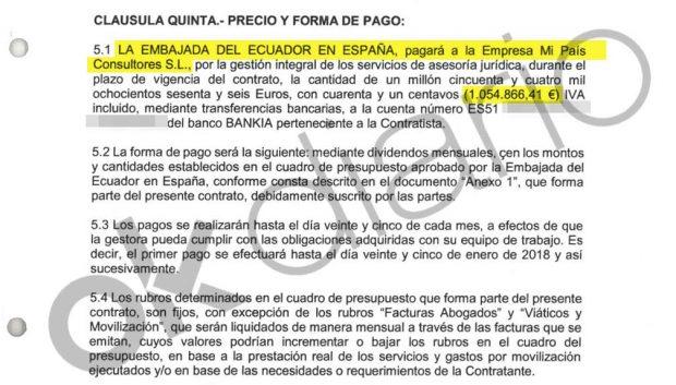 Contrato de 1,8 millones entre la Embajada de Ecuador en España y Mi País Consultores SL.