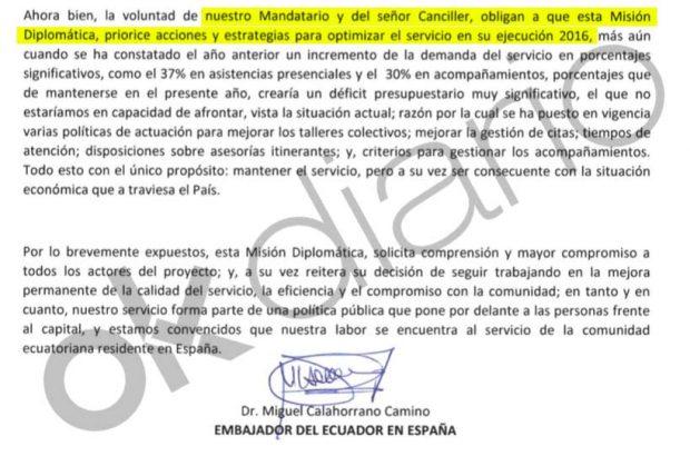 Escrito interno del ex embajador Miguel Calahorrano dirigido a los abogados de la cooperativaKinema.