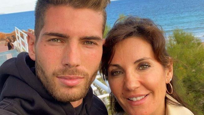Luca Zidane y su madre Véronique.