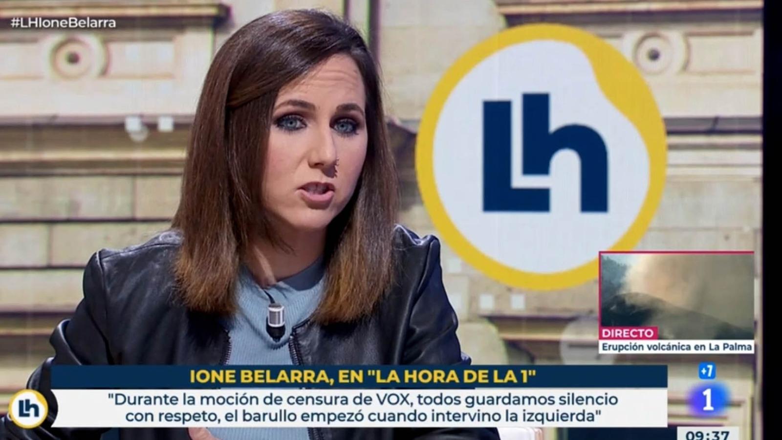 La ministra y líder de Podemos, Ione Belarra, en TVE. (Vídeo: 'La Hora de La 1').