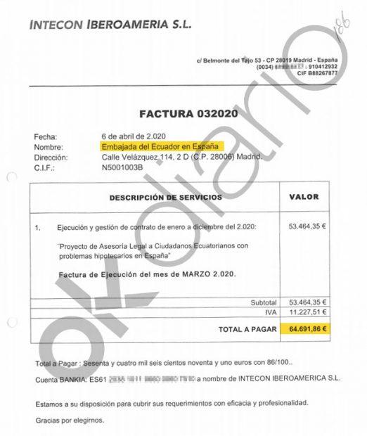 Factura de 64.000 euros de la empresa interpuesta vinculada a Podemos.
