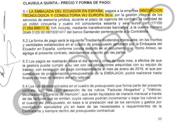 Contrato entre la empresa interpuesta vinculada a Podemos y la Embajada de Ecuador en España.
