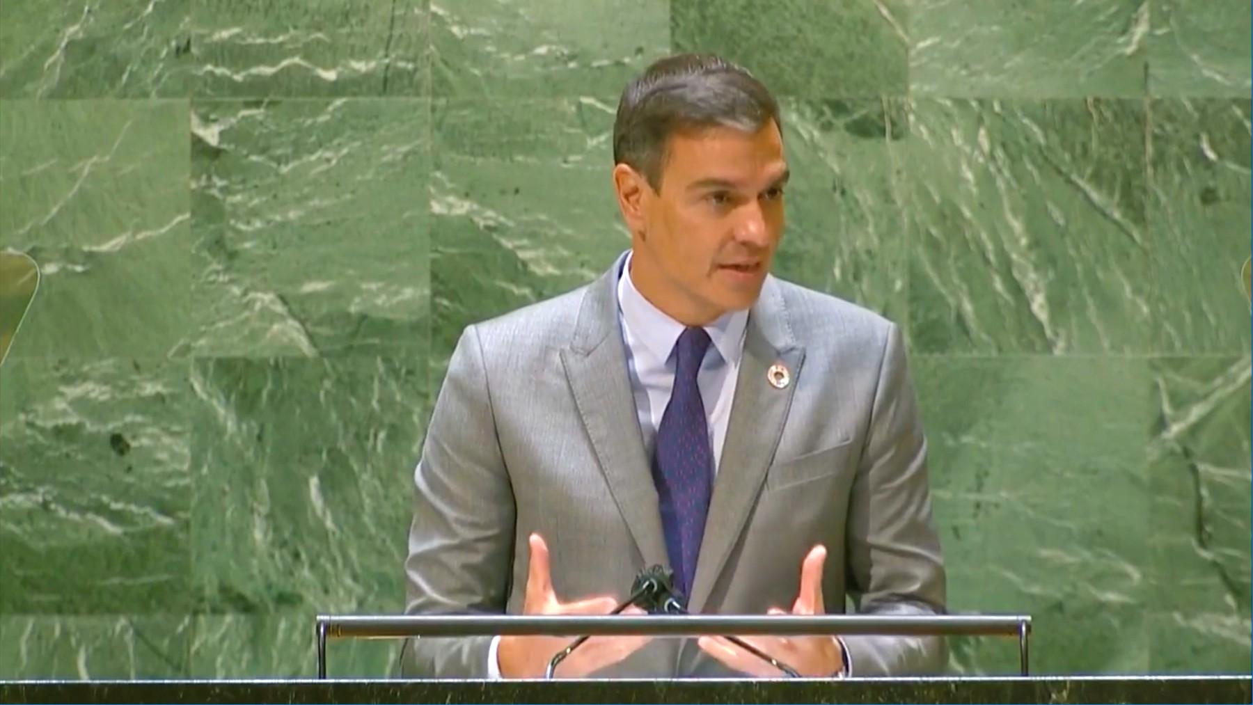 El presidente del Gobierno, Pedro Sánchez, en la ONU.