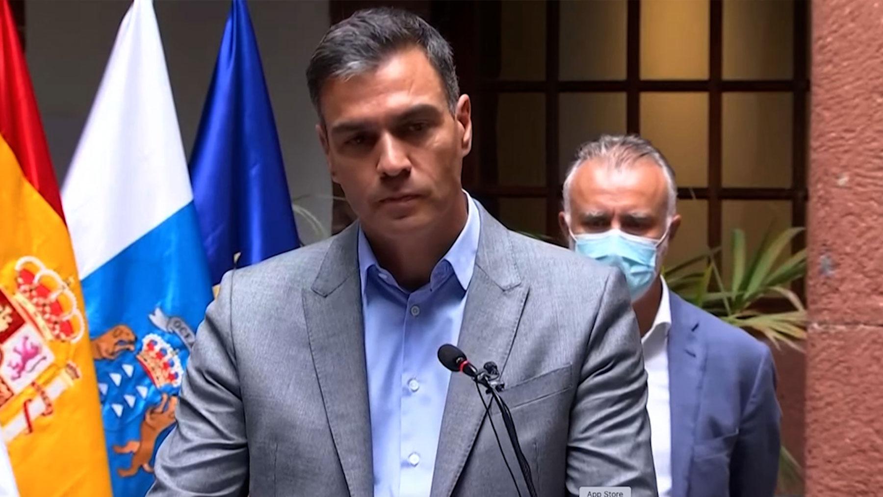 Pedro Sánchez comparece en La Palma.