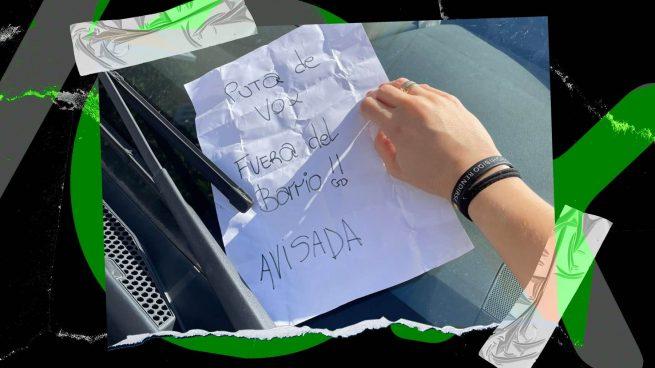 Amenazan a una vocal de Vox en Sevilla con una nota en su coche: «Puta de Vox, ¡¡fuera del barrio!! Avisada»