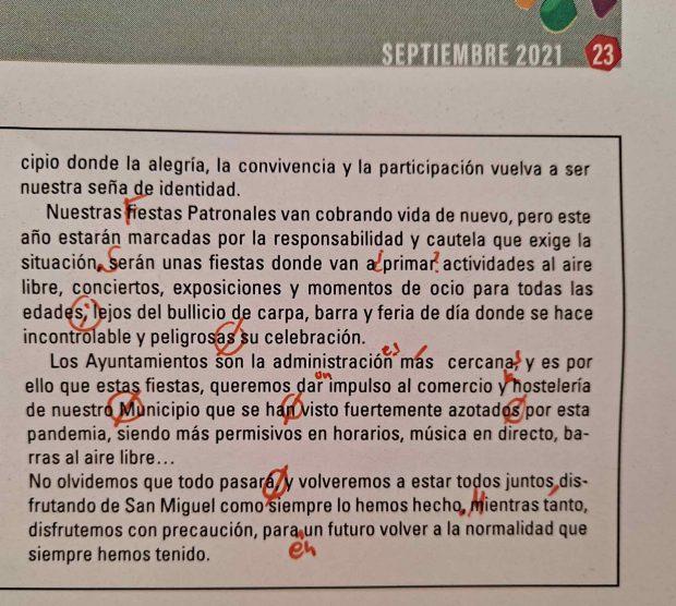 Nota del PSOE en el periódico local de Armillas.