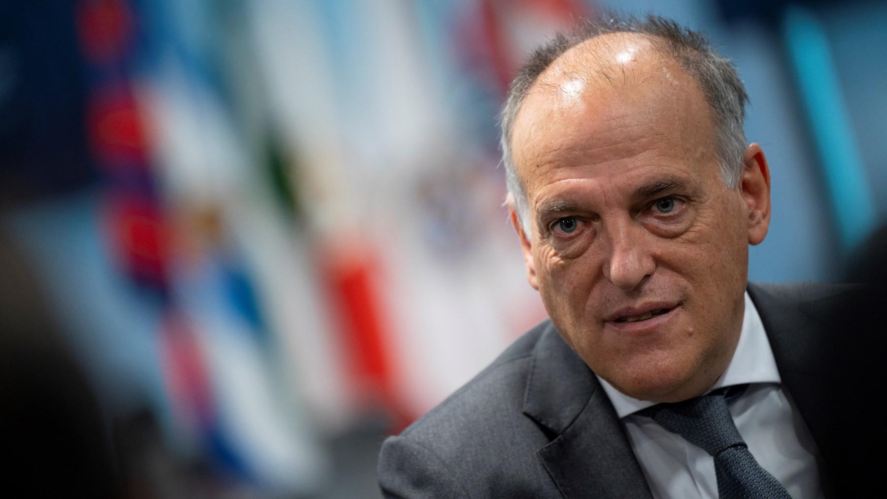 Javier Tebas, presidente de La Liga (AFP).