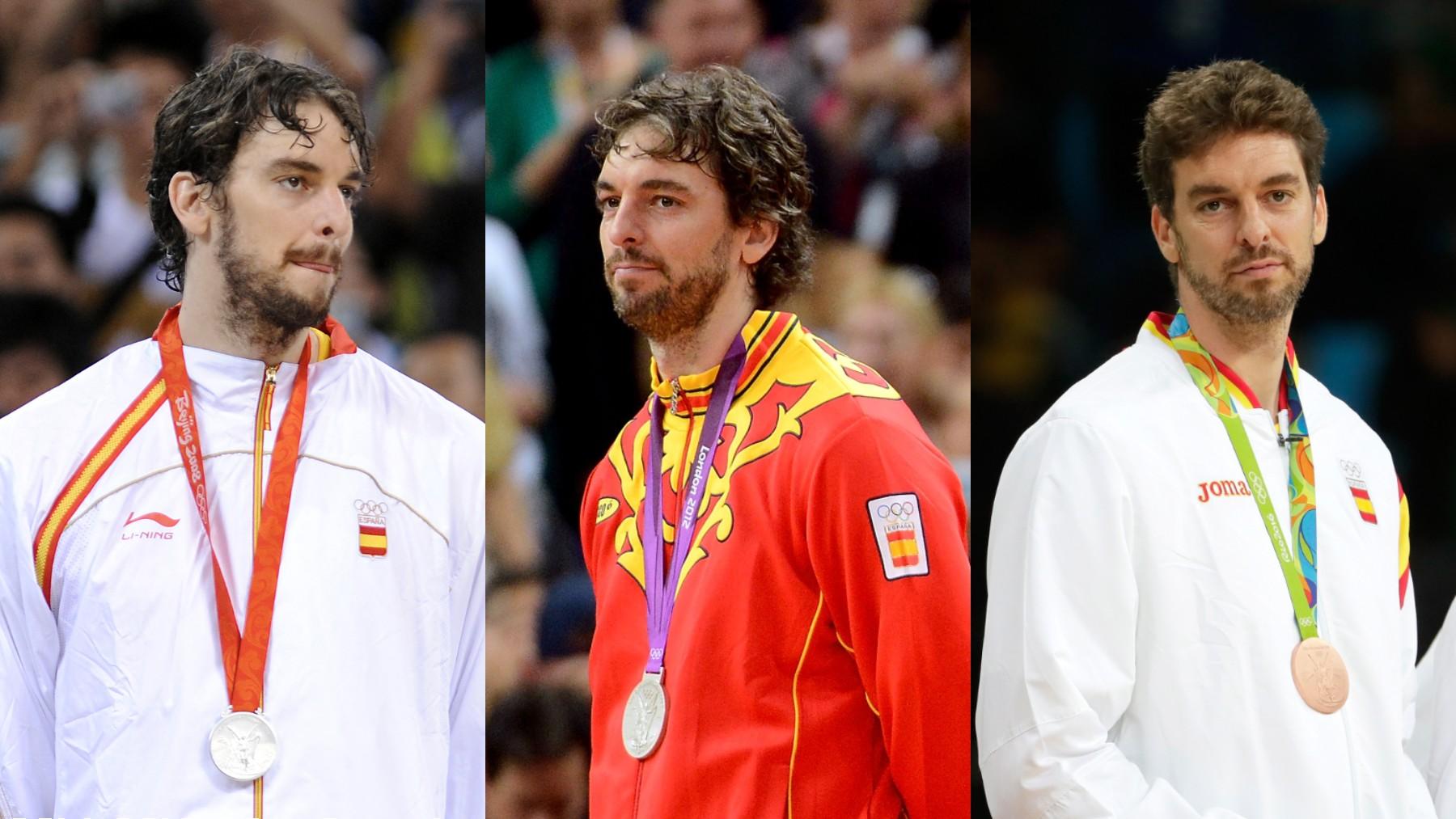 Pau Gasol y sus tres medallas olímpicas.