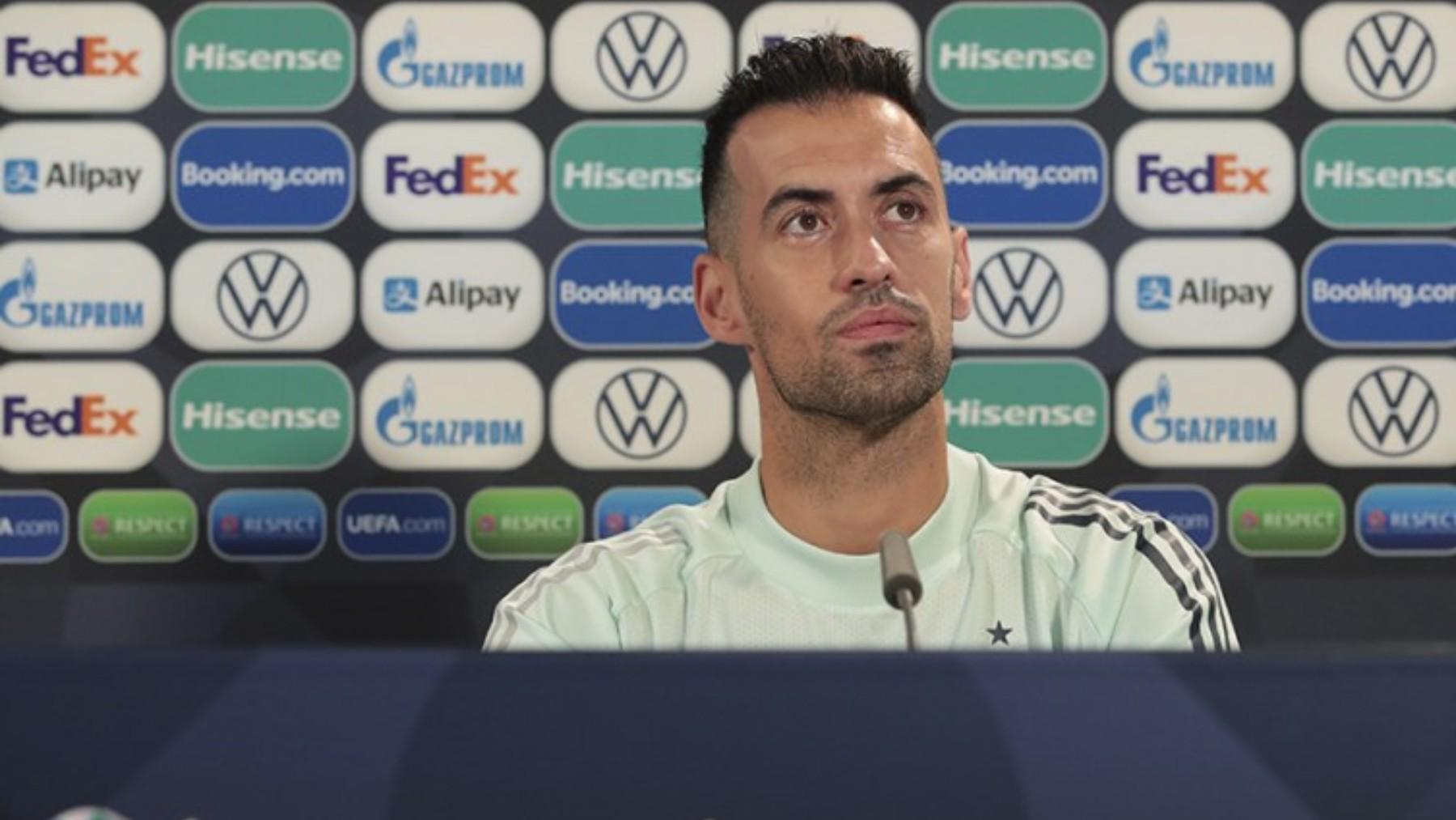 Sergio Busquets, durante una rueda de prensa. (SeFútbol)