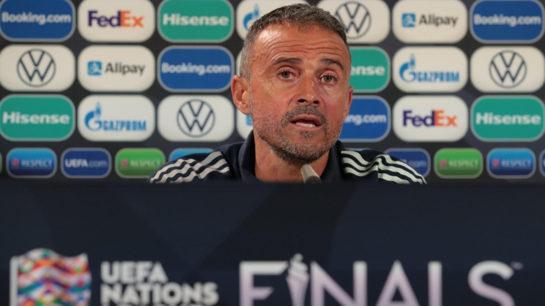 Luis Enrique, durante una rueda de prensa. (UEFA)
