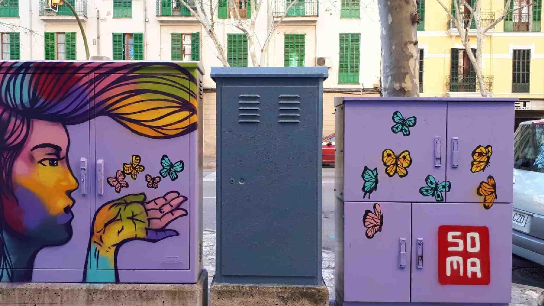 Grafiti en la plaza Santa Pagesa de Palma.
