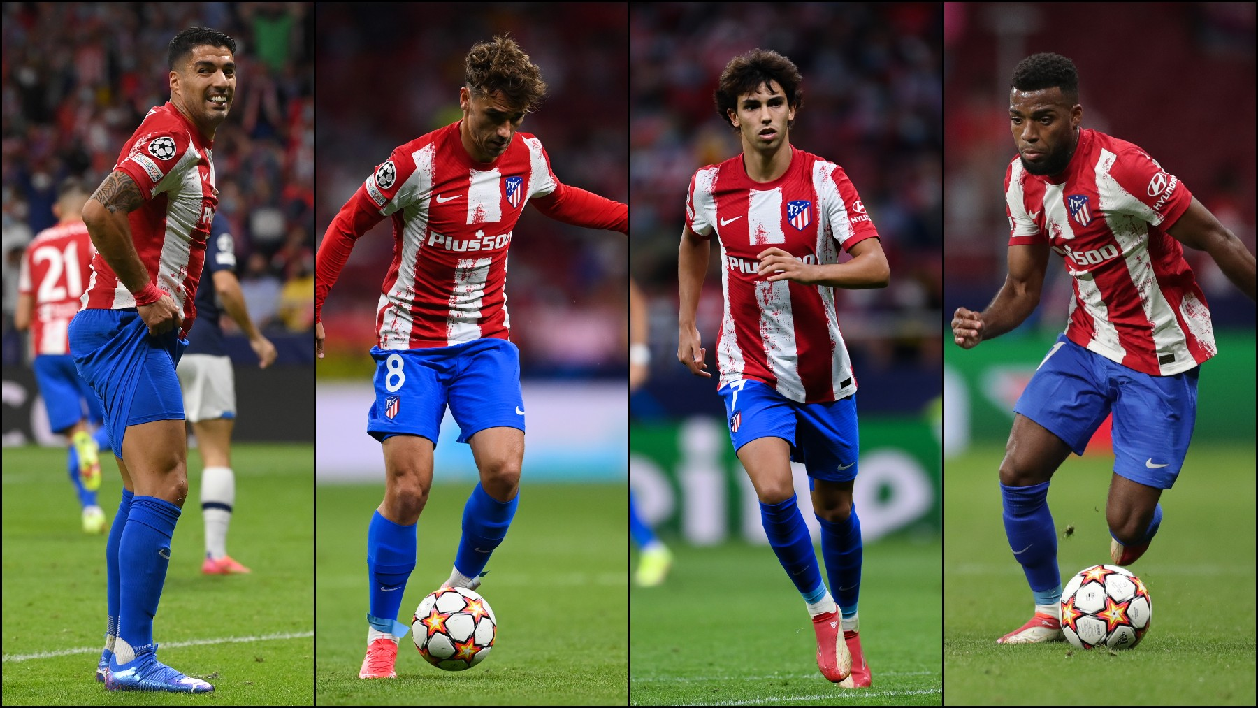 Luis Suárez, Griezmann, Joao Félix y Lemar.