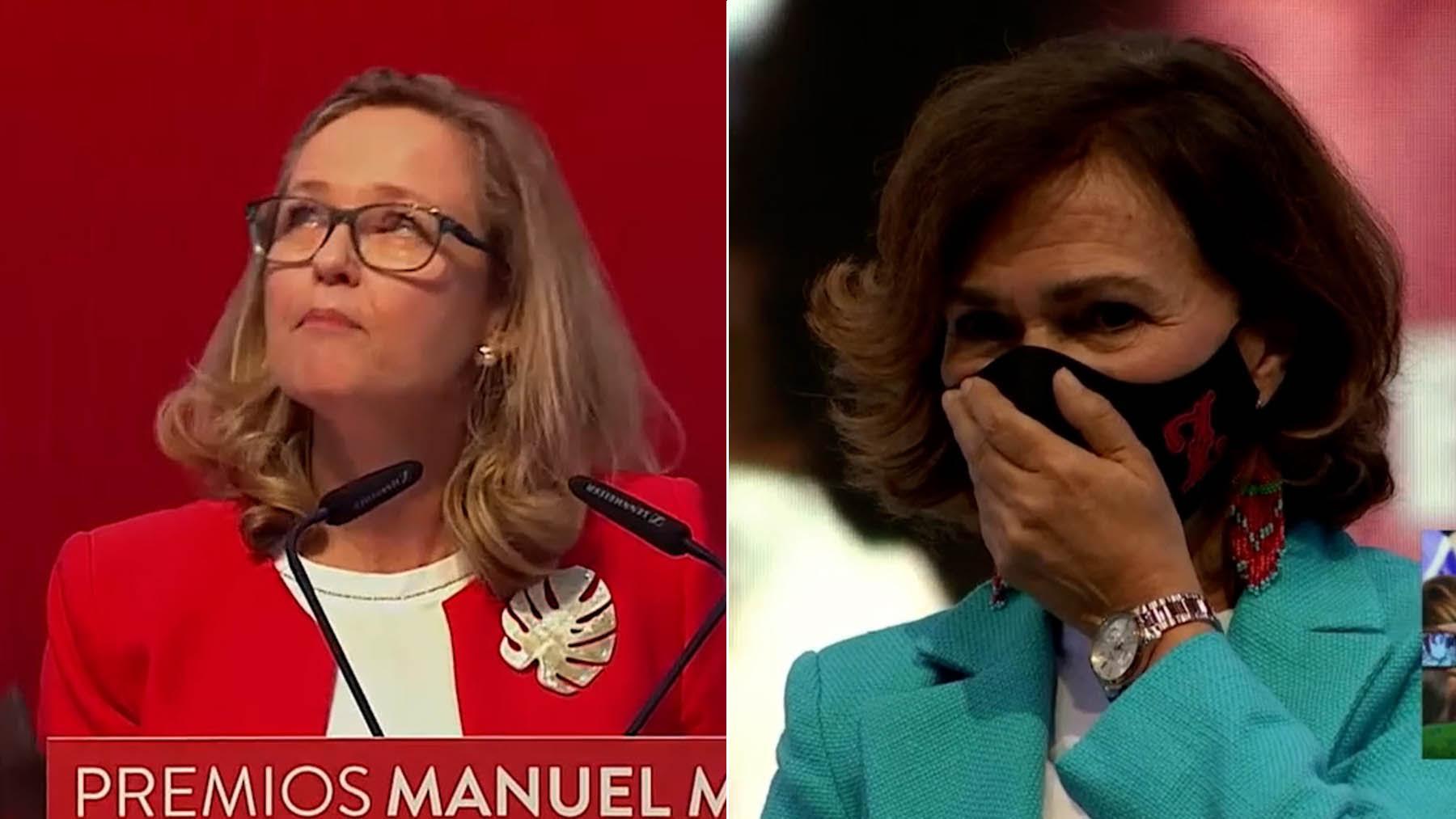 Calviño y Calvo, llorando en el congreso del PSOE