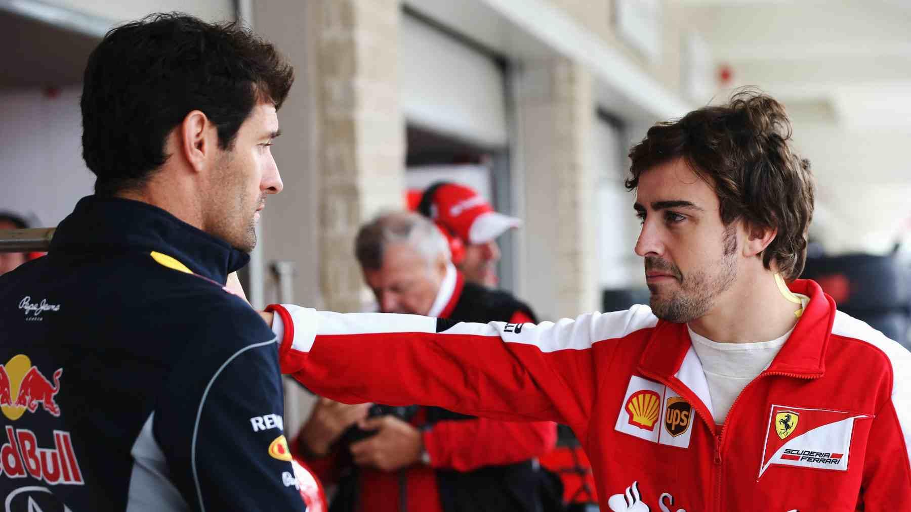 Mark Webber y Fernando Alonso en el año 2015. (AFP)
