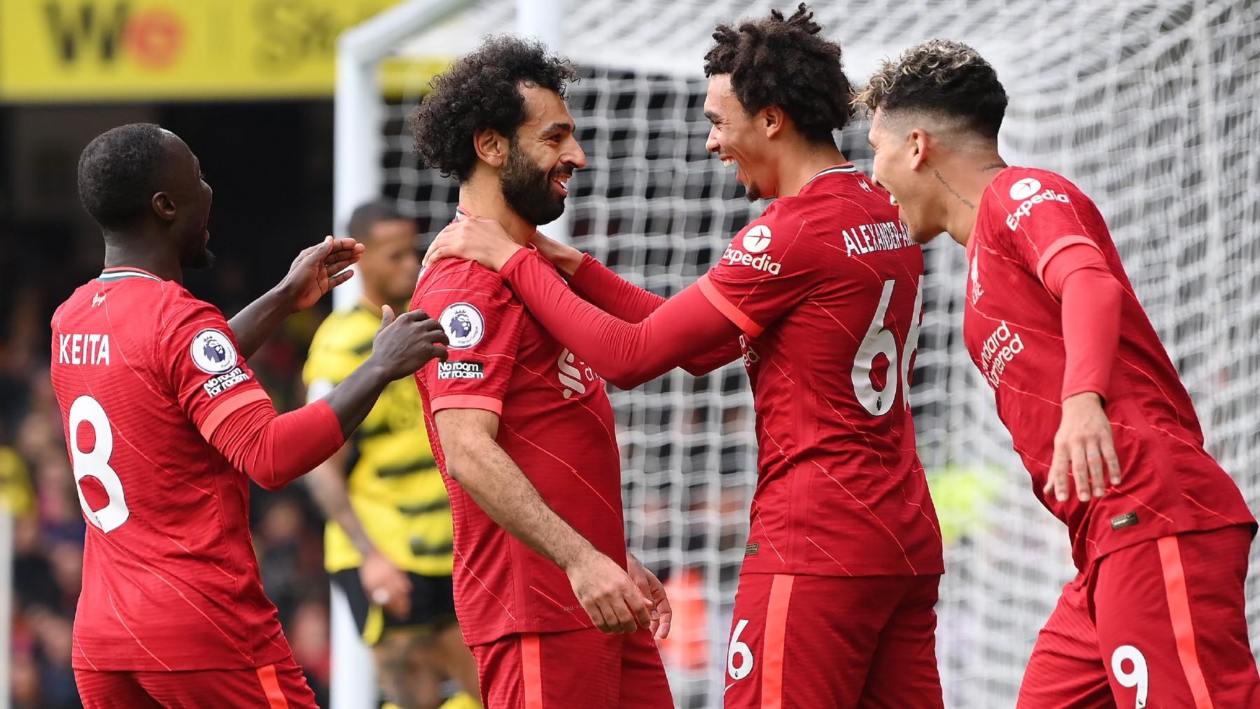 Los jugadores del Liverpool celebran un gol al Watford. (Getty)