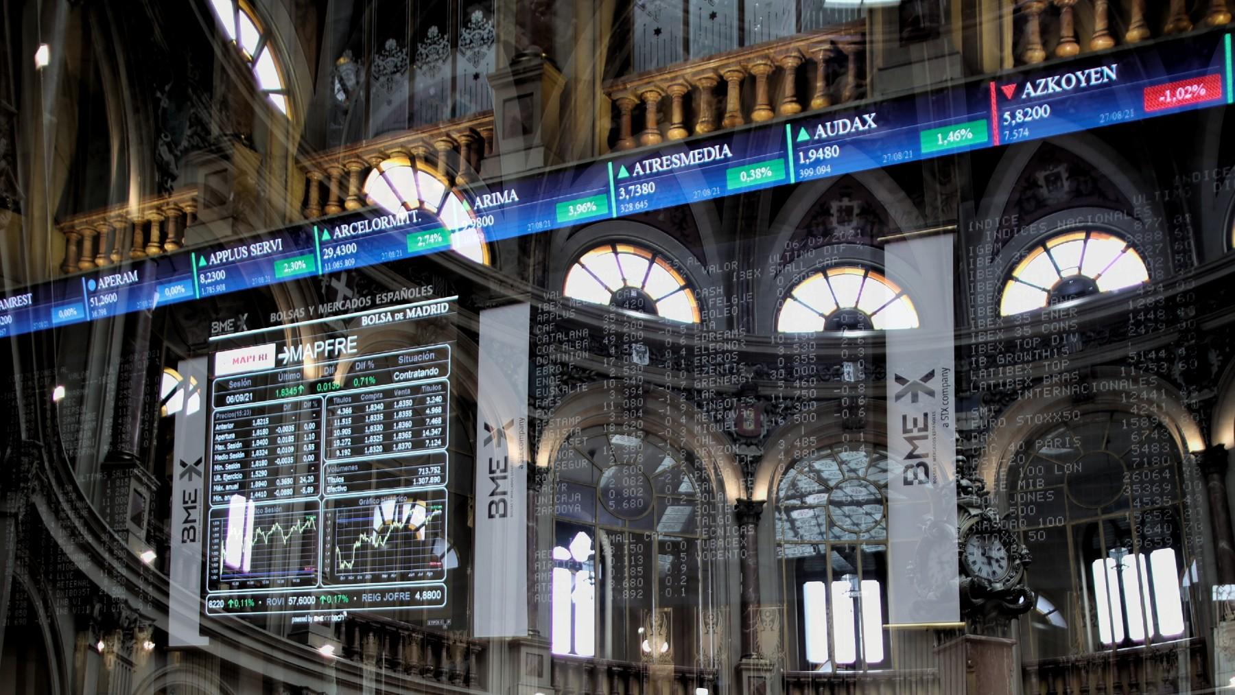 Cotizaciones en la Bolsa de Madrid.