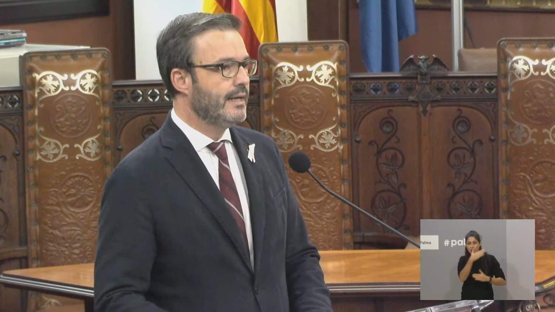 El alcalde de Palma, José Hila, en su intervención con motivo del debate sobre el estado de la ciudad.