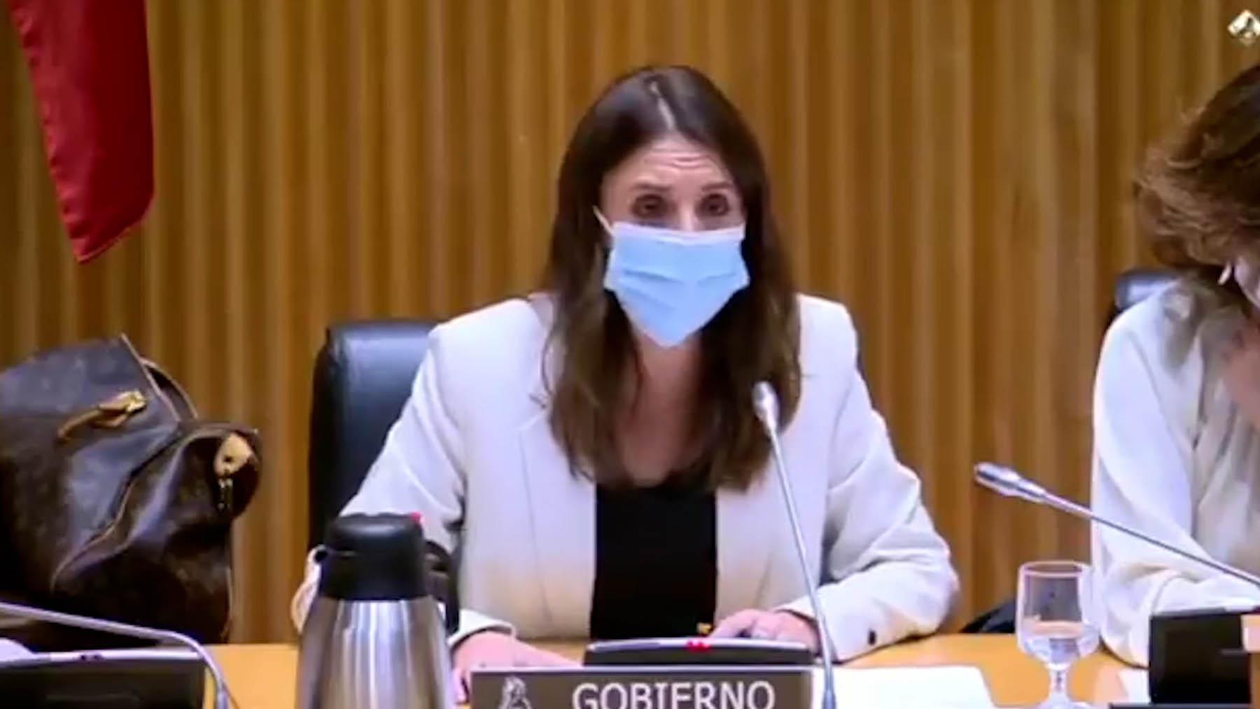 La ministra Irene Montero en la comisión de Igualdad del Congreso.