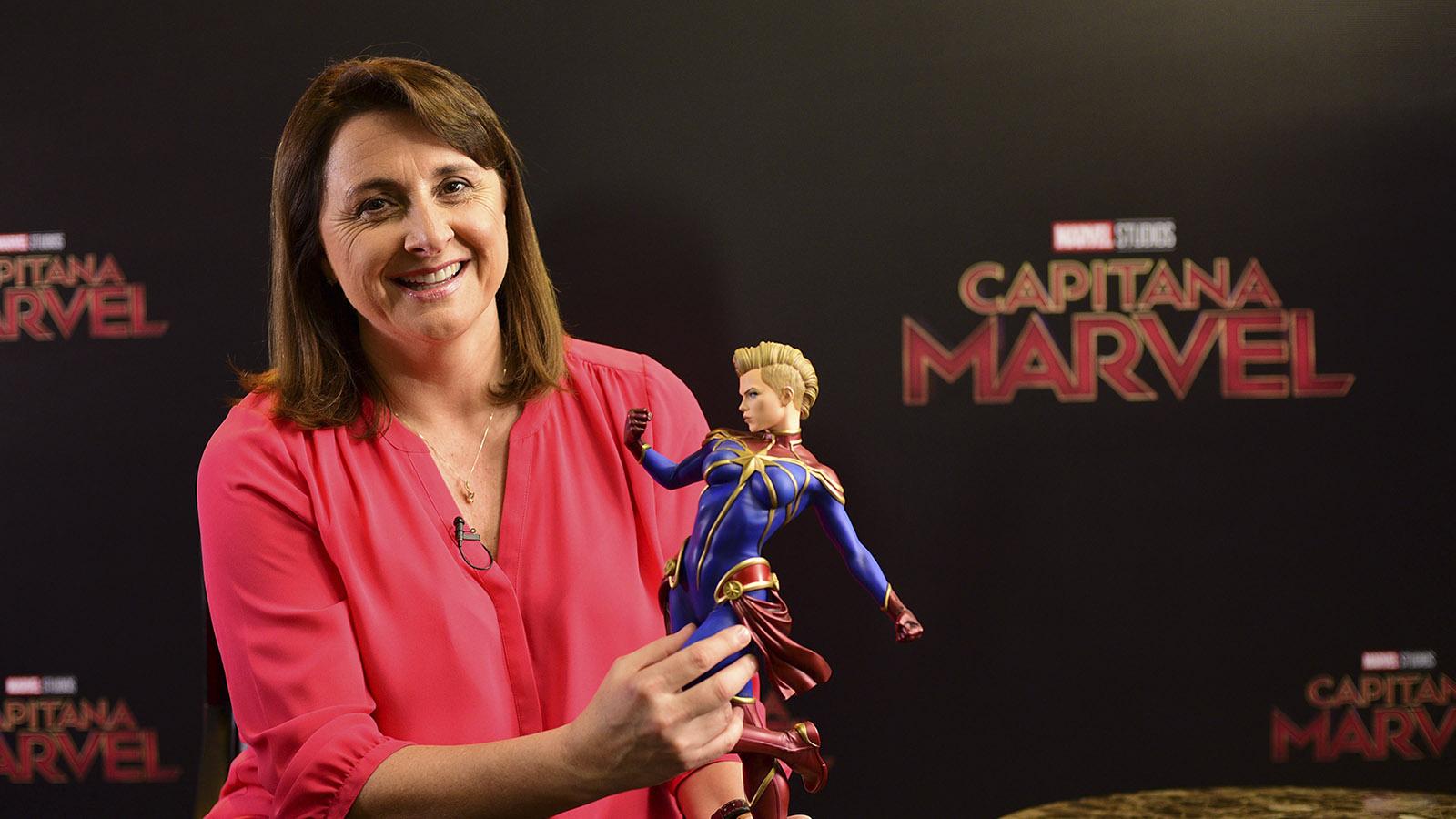 Victoria Alonso en la promoción de 'Capitana Marvel' (Marvel/Disney)
