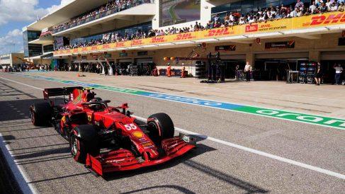 Carlos Sainz durante el GP de Estados Unidos de Fórmula 1. (AFP)