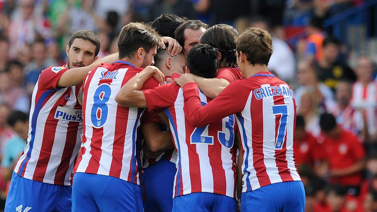 Los jugadores del Atlético celebran un gol en el Calderón. (Getty)