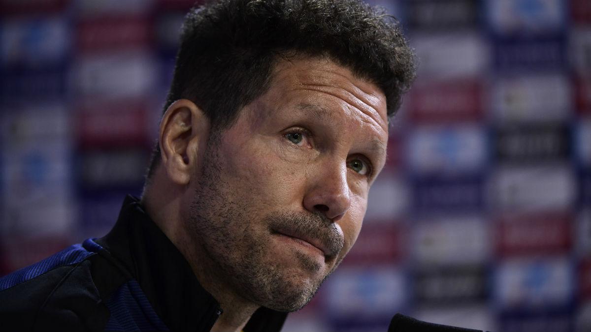 Simeone, en rueda de prensa. (AFP)