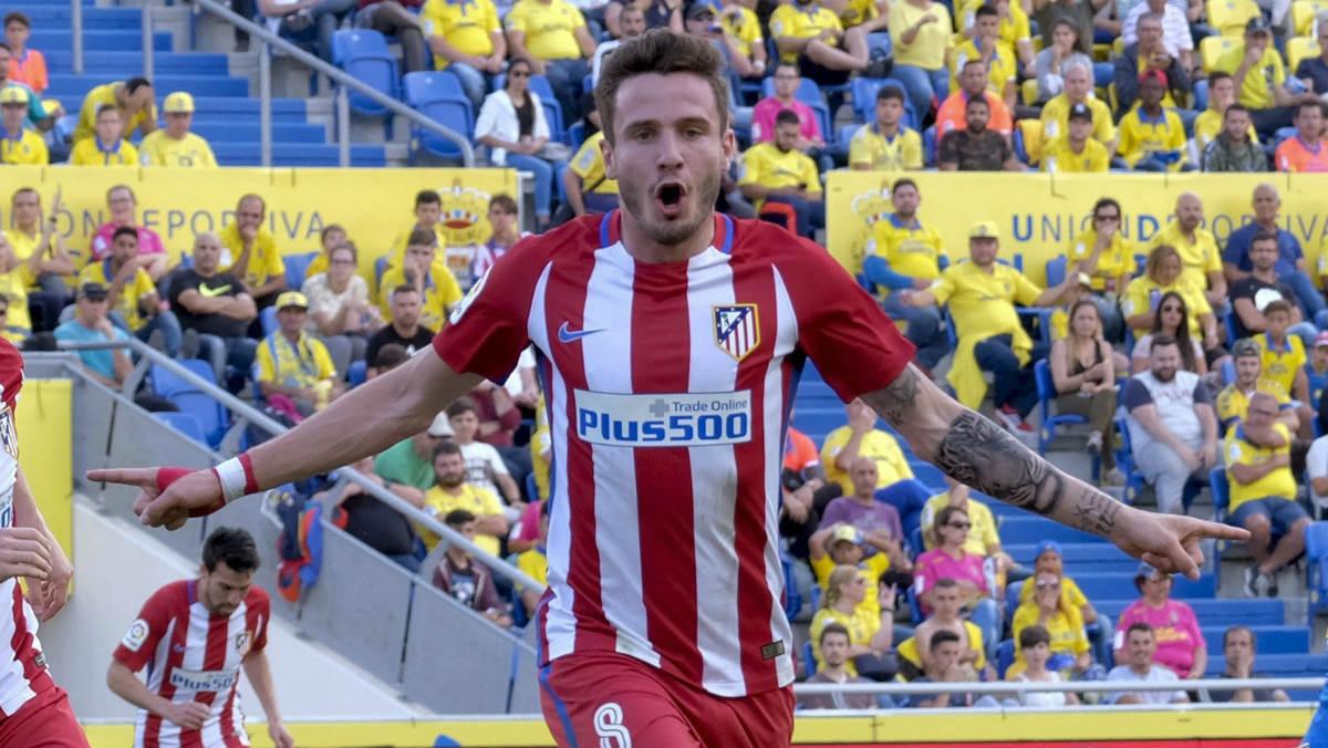 Saúl celebra su gol en Las Palmas. (EFE)