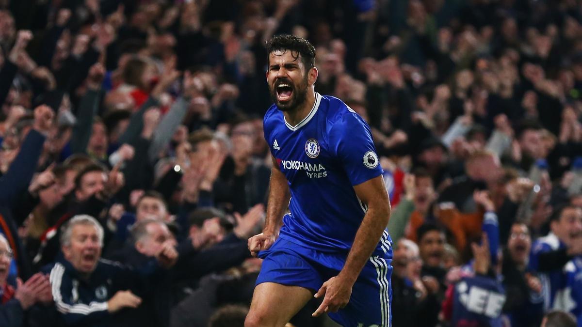 Diego Costa celebra un gol con la camiseta del Chelsea
