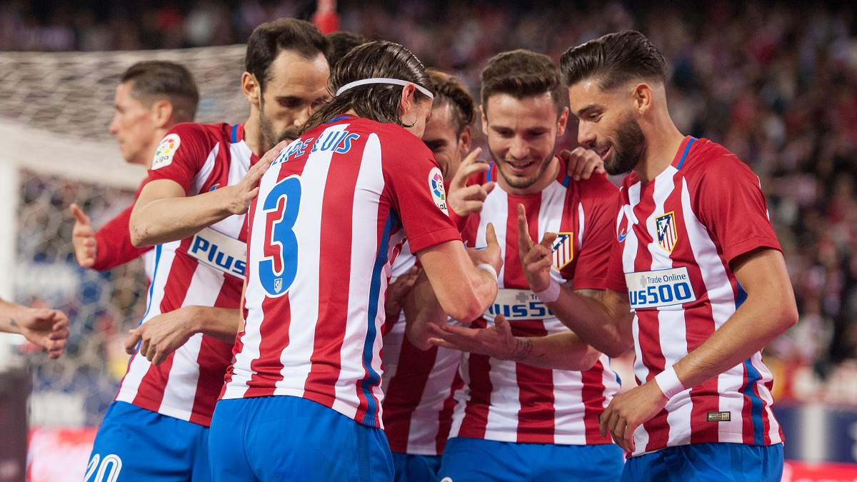 Los jugadores del Atlético celebran un gol