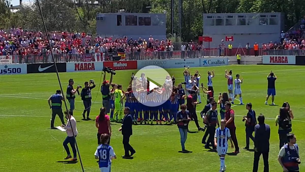 El Atlético Femenino celebró el título a lo grande.