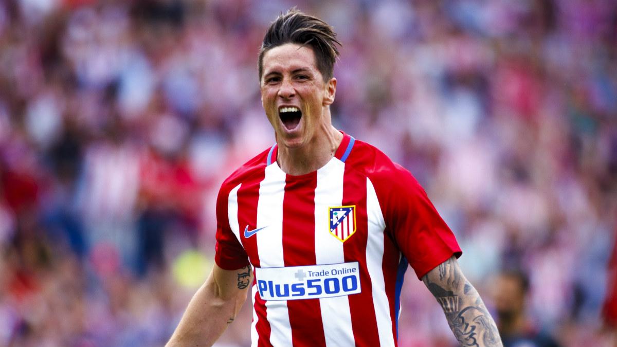 Torres celebra uno de sus goles ante el Athletic. (Getty)