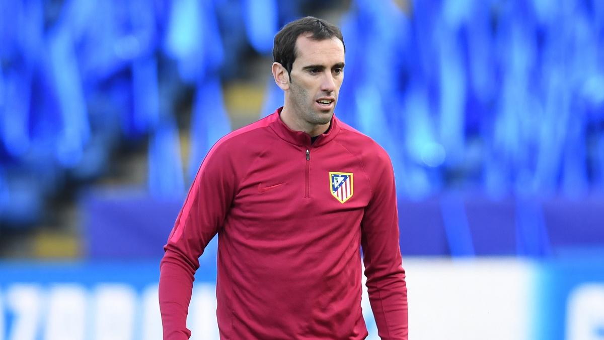 Diego Godín, durante un entrenamiento