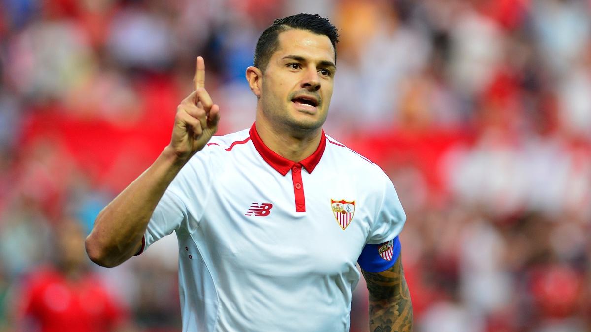 Vitolo celebra un gol con el Sevilla